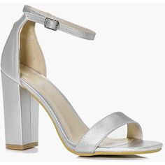 Boohoo Violet Peeptoe Block Heel (€39) ❤ liked on Polyvore featuring shoes, silver, slip-on shoes, block heel shoes, silver block heel shoes, chunky shoes and platform mules