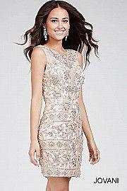 Blush Backless Embellished Short Dress With Illusion Neckline 28638