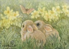 ORIGINAL ACEO Yellow Flowers, Bunny Rabbits & a Butterfly floral art by LBB