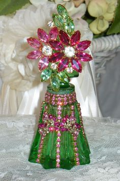 Antique Bejeweled Perfume Bottle 20 By Debbie Del Rosario-Antique, Perfume, Weiss, Rhinestones, Glass, Crystal, Victorian,