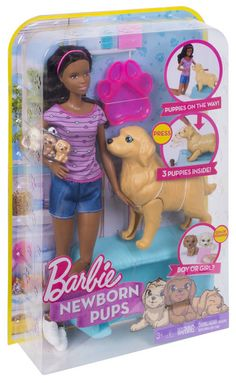 Check out the Barbie Newborn Pups Doll & Pets at the official Barbie website. Explore the world of Barbie today! Ken Doll, Barbie Sets, Barbie Dolls Diy, Doll Clothes Barbie, Barbie Doll House, Girl Barbie, Little Girl Toys, Baby Girl Toys, Toys For Girls
