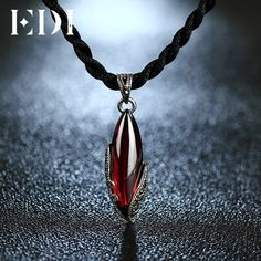 How to Discount 49% Sale Price US $14.79 EDI Unique 925 Sterling Silver Garnet Pendants Natural Chalcedony Sterling silver jewelry Necklaces For Women Best Gifts #unique_necklaces