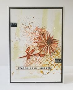 Tracy Evans made this using her border stamp Passion Flower and stamp Overlapping Texture with stencil 45 Digital Bubbles by Autour de Mwa. Minimal colour with just a rusty red gives a brightness and clarity to the piece Flower Stamp, My Flower, Gel Press, Passion Flower, 8th Of March, My Stamp, Greeting Cards Handmade, I Card, Hand Stamped