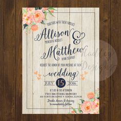 Rustic Floral Wedding Invitation Country by HadleyCustomDesigns
