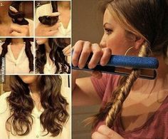 To get simple, laidback waves, twist sections your hair and then run a hair straightener down the sections. 36 Awesome Hair Hacks For Every Type Of Hair Easy Curled Hairstyles, Diy Hairstyles, Pretty Hairstyles, Hair Curling Tips, Coiffure Hair, Tips Belleza, Great Hair, Awesome Hair, Hair Dos