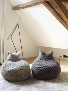Slumber Poufs by Aleksandra Gaca. Love the wood beams too. I love the word Pouf. Anything named Pouf is cute. Furniture Decor, Furniture Design, Cat Furniture, Pouf Design, Bag Design, Design Ideas, Interior And Exterior, Interior Design, Design Interiors