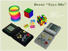 The Sims 3 retro toy decor (described as 90s but it reminds me more of the late 80s); Slinky, Rubik's cube, bubblegum, handheld Tetris games