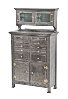 Remarkable Early 20th Century American Heavy Gauge Steel Dental Cabinet  With Original Faceted Glass Drawer Pulls
