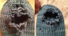 sock darning: worn-out hole in knitted sock getting repaired