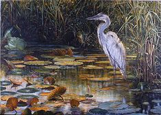 acrylic painting lesson, heron on pond