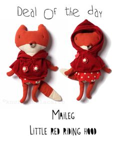 Maileg / Little red riding hood fox doll only EUR 19,95 today http://www.knuffelsalacarte.nl/-DAGAANBIEDING-c-275.html