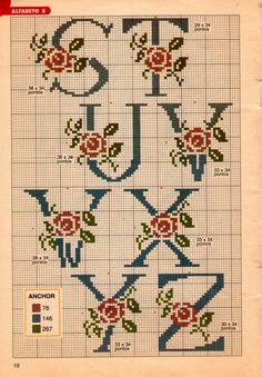 This Pin was discovered by Zül Cross Stitch Alphabet Patterns, Cross Stitch Letters, Cross Stitch Heart, Beaded Cross Stitch, Crochet Cross, Cross Stitch Embroidery, Plastic Canvas Letters, Christmas Embroidery Patterns, Vintage Cross Stitches