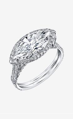 Shayan Afshar Marquise Diamond Ring with Platinum Diamond Setting | VAUNTE