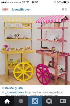 A fleet barrows retail stall market display wedding candy carts for sale or rent Sweet Carts, Candy Cart, Market Displays, Candy Table, Candy Shop, Craft Fairs, Ideas Para, Wood Projects, Interior Design