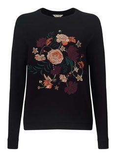Floral Embroidered Sweatshirt - New In- Miss Selfridge Europe