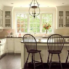 Big windows instead of french doors? Already a regular door, so we could enhance natural light with bigger windows and keep counter top space and cabinets beneath facing the back yard instead of neighbors