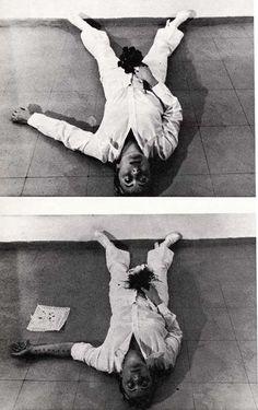 "wearinggutsforgarters:  Gina Pane. ""Action Sentimentale,"" 1974. Image via http://www.italystar.it/."