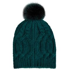 Accessorize Cable Pom Beanie Hat ($33) ❤ liked on Polyvore featuring accessories, hats, pointy hat, beanie cap, cable knit beanie, faux fur hat and cable hat
