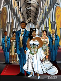 Here we have the lovely Andrea Jenkins as the Bride in her wedding. Black Is Beautiful, Beautiful Bride, Plus Size Art, Art Of Love, Art Of Beauty, Black Cartoon, Cool Artwork, Amazing Artwork, Afro Art