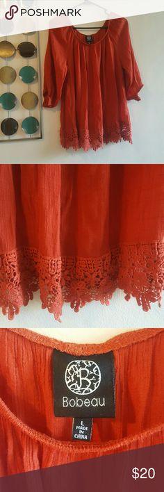 Bobeau Blouse🌺 Price Drop!!!!! Never been worn!                           Burnt orange color🛍  Lace Trim bobeau Tops Blouses