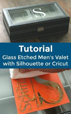 Product Idea: Glass Etched Men's Monogram Valet or Jewelry Box with Silhouette Cameo, Portrait, Cricut Explore, Maker - with monogram. Includes a full tutorial - http://cuttingforbusiness.com/2017/12/06/etched-mens-valet-jewelry-box-silhouette-cricut/