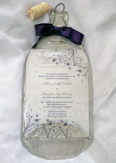 Wine+Bottle+Keepsake+with+Wedding+Invitation+by+CreativeChameleon,+$35.00