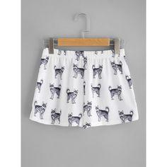 SheIn(sheinside) Dog Print Tee & Shorts Pajama Set (3.065 HUF) ❤ liked on Polyvore featuring intimates, sleepwear, pajamas, summer pajama sets, dog pajamas, short sleeve pajamas, dog pjs and animal pajamas