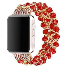 YRD TECH Apple Watch, Pearl Bracelet Watch Wrist Band Strap for Apple Watch iWatch Series 1 2 42mm,Black,Red,Blue (Red) * You can find out more details at the link of the image. (This is an affiliate link and I receive a commission for the sales)