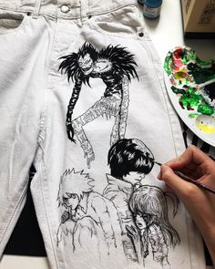Death Note Custom in progress! 💣 Hand-Painted with the final 🎨 Painted Jeans, Painted Clothes, Hand Painted, Anime Inspired Outfits, Anime Outfits, Diy Clothing, Custom Clothes, Male Clothing, Clothing Logo
