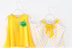 2014 summer new wholesale children's Flowers Polka Dot suit vest + girls cotton harem pants.2014 new Children Set $39.99