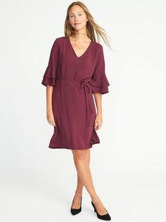 Ruffle-Sleeve Tie-Waist Shift Dress for Women