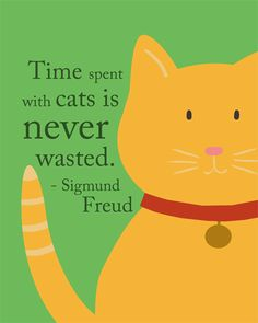 """Time spent with cats is never wasted.. ~ after spending an hour looking for my old cat who was sleeping in the closet...  Freud got one thing right anyway....  ❁❁❁Thanks, Pinterest Pinners, for stopping by, viewing, re-pinning, & following my boards.  Have a beautiful day! ❁❁❁ **<>**✮✮""""Feel free to share on Pinterest""""✮✮"""" #animals #gifts www.catsandme.com"""