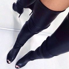 "Must have open toe black leather thigh high boots. Made of cowhide leather. Heel height, 4.7"" inches. Size guide below: Note: Arrives in 10-14 days. These boots are custom made please allow up to 7 ex"