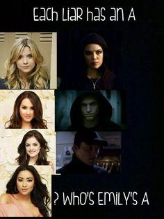 Hannah|mona Spencer|toby Aria|ezra Emily|???