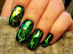 Nails, gel nails, Mylar, Mylar nails, nail art, shattered glass design.