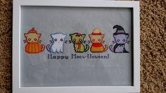 Halloween kitties. Credit to Reddit user u/PkmnMasterTash. Pattern at https://www.dropbox.com/s/l3n5vtnmnfjkutk/Spooky%20Kitty%20Patterns.rar?dl=0