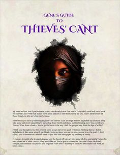 Gene's Guide to Thieves' Cant - Imgur