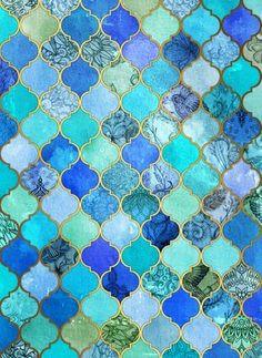 Cobalt Blue, Aqua & Gold Decorative Moroccan Tile Pattern Framed Art Print by Micklyn | Society6