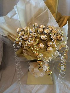 FERRERO ROCHER SWEET BOUQUET (GREAT FOR MOTHERS DAY!) | eBay Sweet Bouquets Candy, Candy Bouquet Diy, Bouquet Box, Gift Bouquet, Ferrero Rocher Bouquet, Ferrero Rocher Chocolates, Chocolate Hampers, Chocolate Gifts, Homemade Gifts