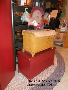 Large (red)and Small (mustard) Chest Handcrafted by W. Harris and Son for The Old Mercantile in Clarksville Tn.. ----Like us on Facebook----931-552-0910