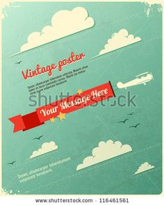 Retro Poster Design with clouds. Vector Illustration by Godruma, via Shutterstock