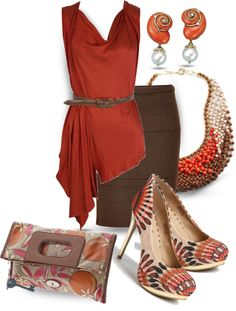 """""""Burnt Orange & Chocolate"""" by yasminasdream on Polyvore    The accessories are too busy for my taste, but I like the style and colors of the outfit."""