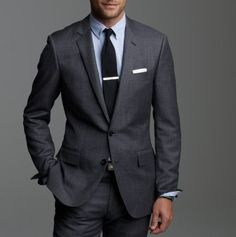 Gunmetal grey suit, Navy tie, but with crisp white shirt...oh yeah