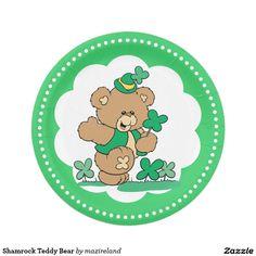 Shamrock Teddy Bear 7 Inch Paper Plate