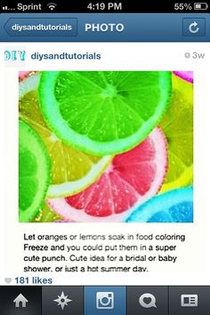 colored lemons for a punch bowl.