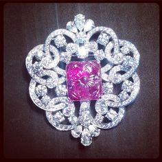 A carved Ruby & Diamond Brooch from Graff. #beauty #love #diamonds #Graff