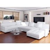 Urbano White Leather Sectional Sofa Set - RSF
