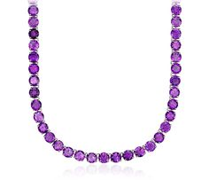 Round Amethyst Necklace in Sterling Silver