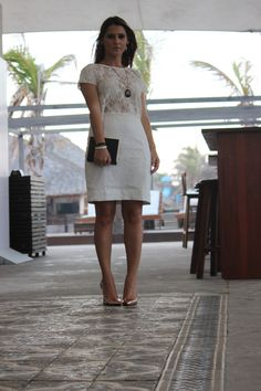 Lace shirt,white skirt and pink gold scarpin