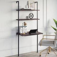 Nathan James Theo Nutmeg and Black Wall-Mount Ladder Writing Desk Table Small Computer Table Bookcase 55501 - The Home Depot Stylish Writing Desks, Ladder Bookcase, Bookcase, Small Computer Table, Ladder Desk, White Storage Cabinets, Wall Shelves, Small Writing Table, Desk Shelves